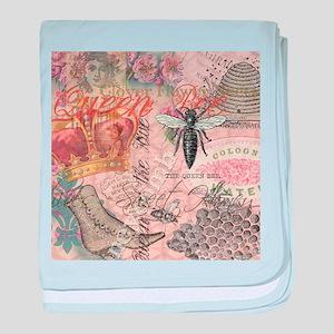 Vintage Queen Bee Collage baby blanket