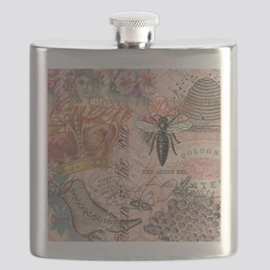 Vintage Queen Bee Collage Flask