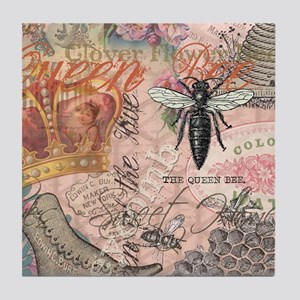 Vintage Queen Bee Collage Tile Coaster