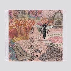 Vintage Queen Bee Collage Throw Blanket