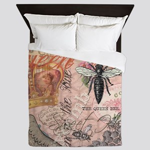 Vintage Queen Bee Collage Queen Duvet