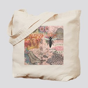 Vintage Queen Bee Collage Tote Bag