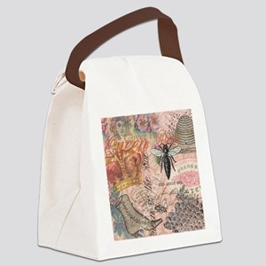Vintage Queen Bee Collage Canvas Lunch Bag