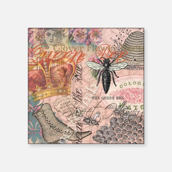 Vintage Queen Bee Collage Sticker