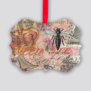 Vintage Queen Bee Collage Picture Ornament