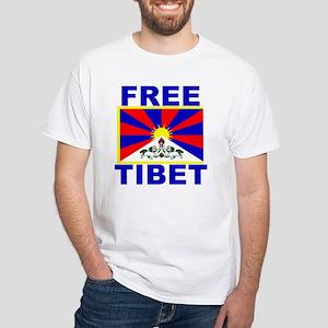 Free Tibet with Flag of Tibet White T-Shirt