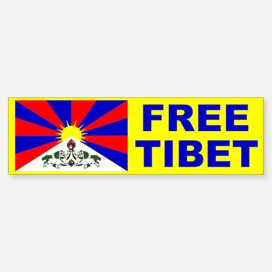 FREE TIBET Bumper Sticker with Flag of Tibet