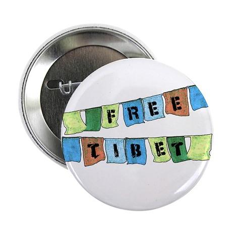 """Free Tibet Prayer Flags 2.25"""" Button (100 pack)"""