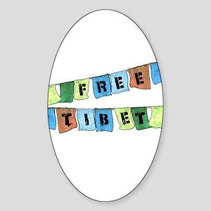 Free Tibet Prayer Flags Oval Sticker
