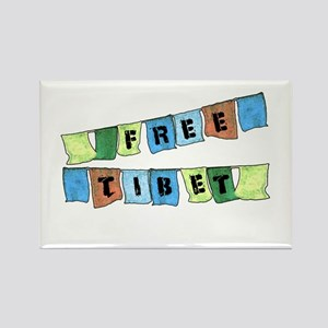 Free Tibet Prayer Flags Rectangle Magnet