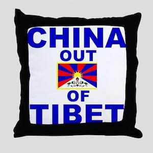 China Out of Tibet Throw Pillow