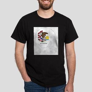 Illinois State Flag Football Helmet T-Shirt