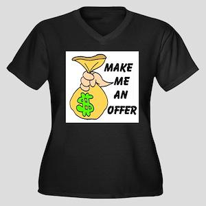 MAKE AN OFFER Women's Plus Size V-Neck Dark T-Shir