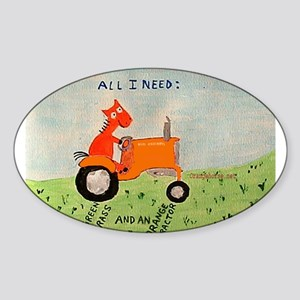 orange tractor Oval Sticker