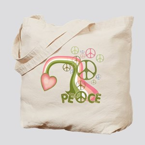 Peace And Love Rainbow Tote Bag