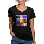 Fancy Colours Women's V-Neck Dark T-Shirt