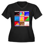 Fancy Colours Women's Plus Size V-Neck Dark T-Shir