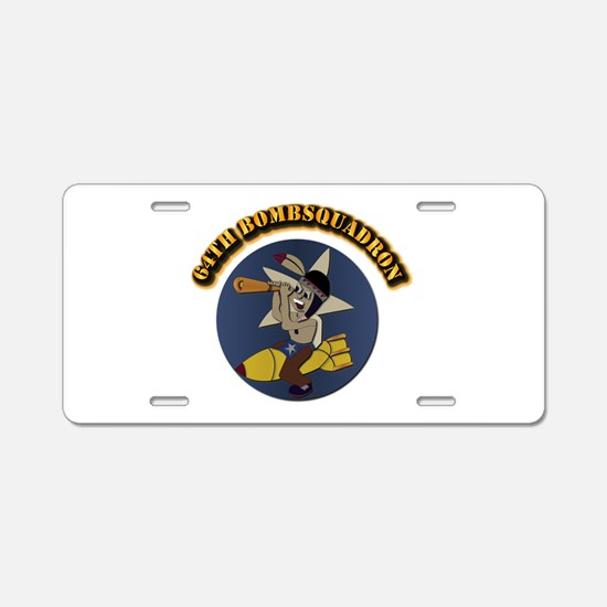 64th Bombsquadron with Text Aluminum License Plate