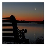 "4/16 Moon At Sunrise Square Car Magnet 3"" X 3"