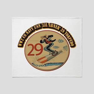 WW2 US Navy USN 'Lil Abner' 29 Torpe Throw Blanket