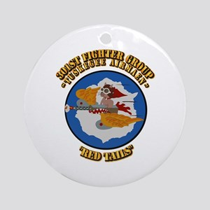 WWII Tuskegee Airmae Red Tail 301 Ornament (Round)
