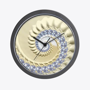 Seashell & Sand Fractal Nature Art Wall Clock