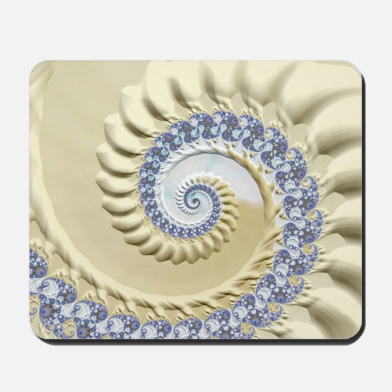 Seashell & Sand Fractal Nature Art Mousepad