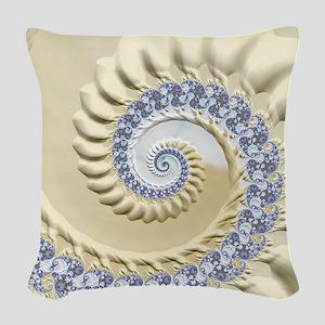 Seashell & Sand Fractal Nature Woven Throw Pillow