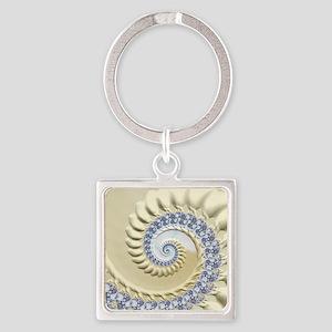 Seashell & Sand Fractal Nature Art Square Keychain