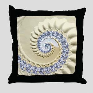 Seashell & Sand Fractal Nature Art Throw Pillow