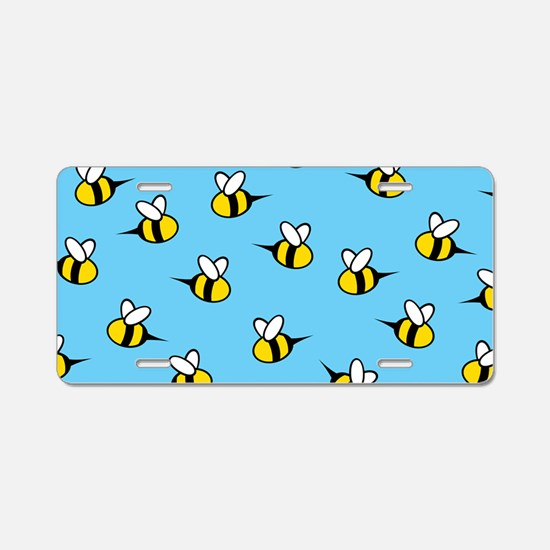 Cute Bees Aluminum License Plate