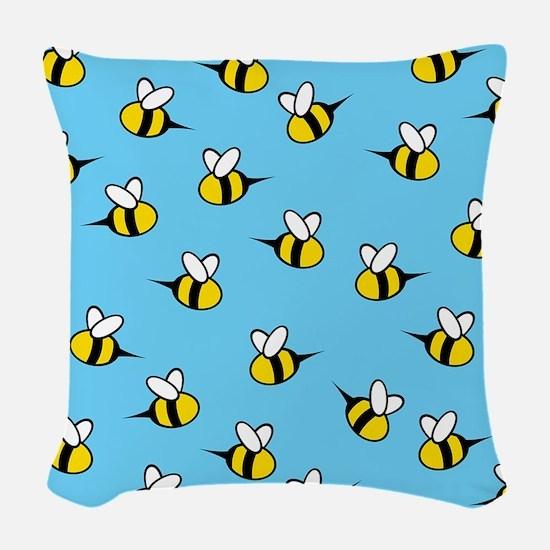 Cute Bees Woven Throw Pillow