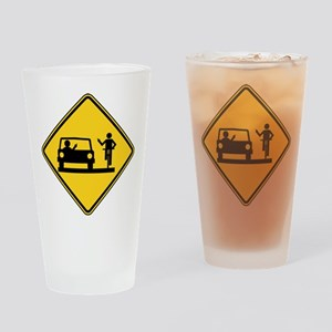 Car vs.Bicycle Road Rage Drinking Glass