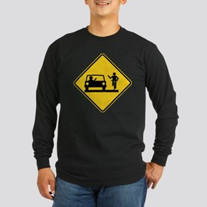 Car vs.Bicycle Road Rage Long Sleeve Dark T-Shirt