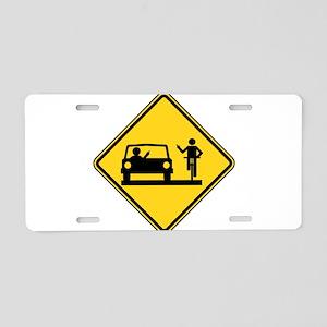 Car vs.Bicycle Road Rage Aluminum License Plate