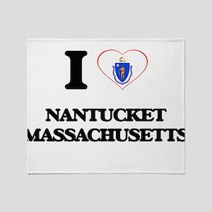 I love Nantucket Massachusetts Throw Blanket