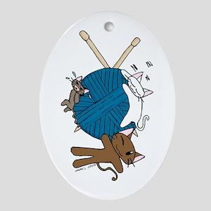 Cat Knit Oval Ornament