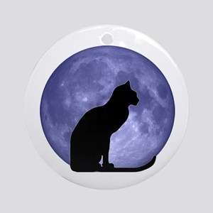 Cat & Moon Ornament (Round)