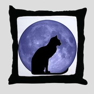 Cat & Moon Throw Pillow