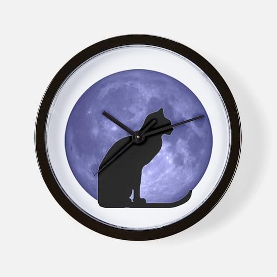 Cat & Moon Wall Clock