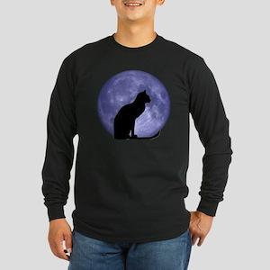 Cat & Moon Long Sleeve Dark T-Shirt