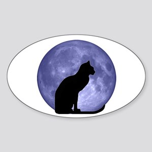 Cat & Moon Oval Sticker