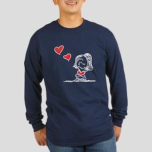 Blow Kisses Valentine Couple Long Sleeve Dark T-Sh