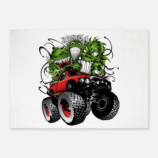 Ghoulish Monster Race Truck 5'x7'Area Rug