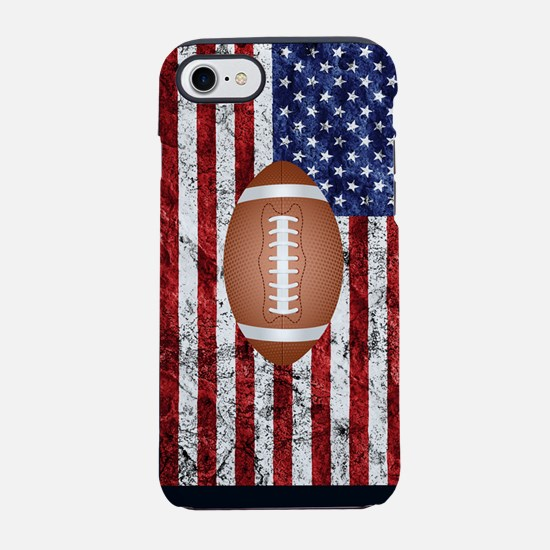 Football on american flag iPhone 7 Tough Case