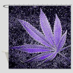 Purple Cannabis Leaf Shower Curtain