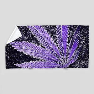 Purple Cannabis Leaf Beach Towel