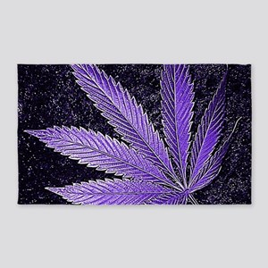 Purple Cannabis Leaf Area Rug