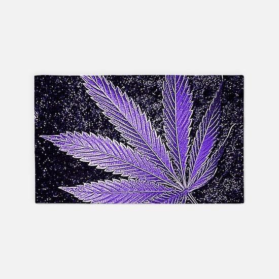Purple Cannabis Leaf Area Rug