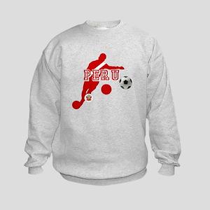Peru Football Player Kids Sweatshirt